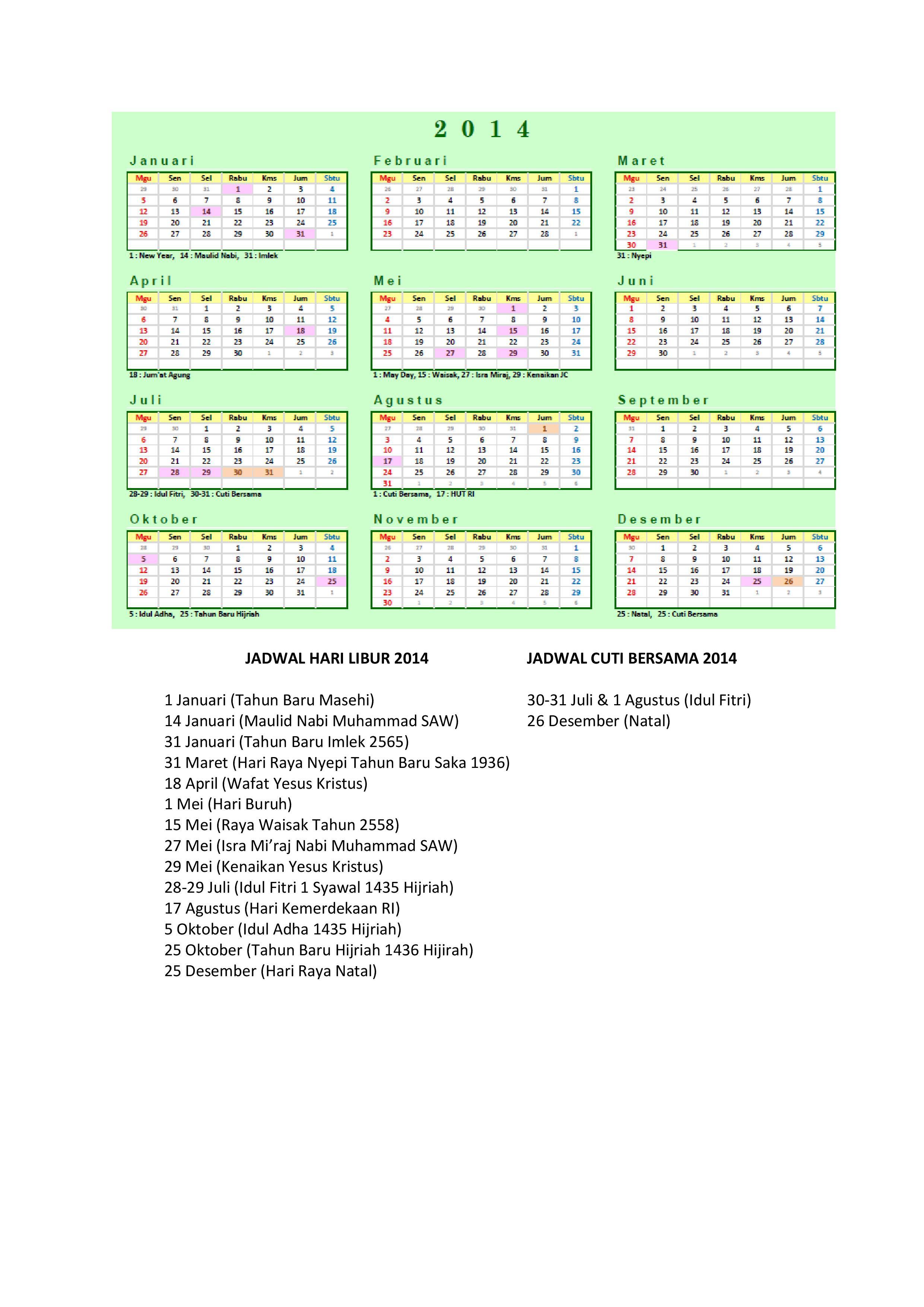 Bisa Menikmati Tanggal Merah Di Kalender 2014 P. Download Kalender ...